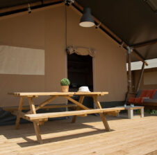 Safari Tent decking area and seating
