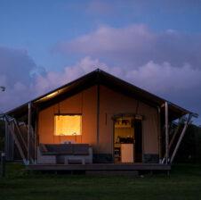 Safari Tent Exterior at dusk