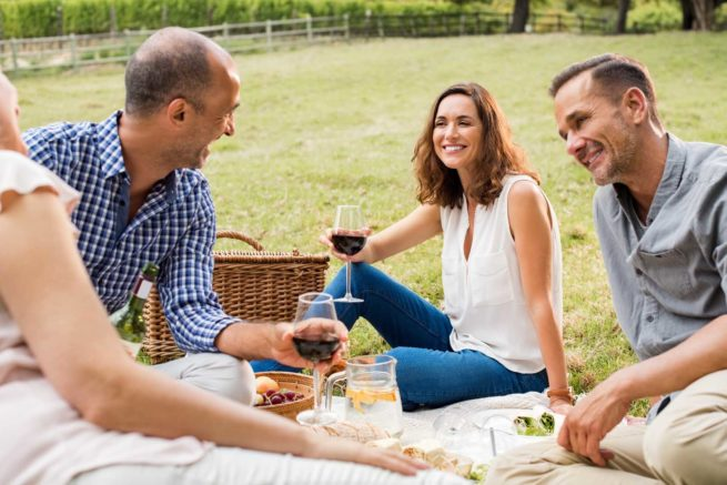 Mature friends enjoying picnic